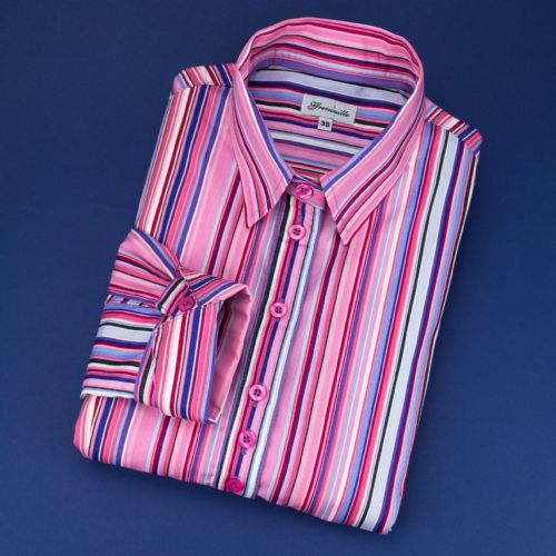 Grenouille Ladies Long Sleeve Pink Multi Stripe Shirt